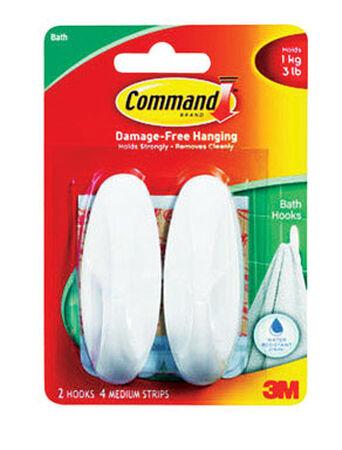 3M Command Medium Designer Bath Hook 3-1/8 in. L Plastic 3 lb. per Hook 2 pk