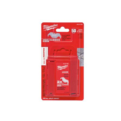 Milwaukee 2-3/8 in. L x 0.03 in. Micro Carbide Metal Roofing Hook Utility Blade 50 pc.