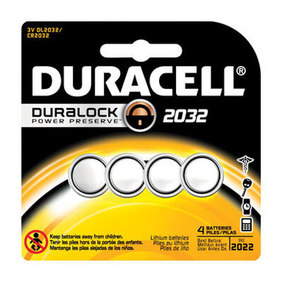 Duracell 2032 Lithium Watch/Electronic Battery 3 volts 4 pk