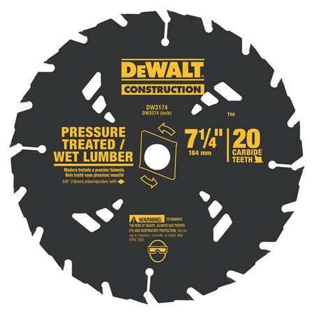 "7-1/4"" 20T Carbide Pressure Treated/Wet Lumber Circular Saw Blade"