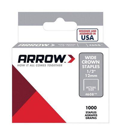 Arrow Fastener #608 Wide Crown Standard Staples Galvanized Steel 1/2 in. L 1000 pk