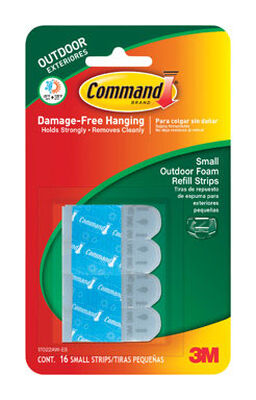 3M Command Small Outdoor Refill Adhesive Strips 1-1/8 in. L Foam 16 pk