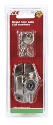 Ace Keyed 2 in. L Window Lock Die-Cast Zinc Satin Nickel