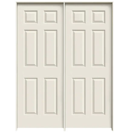 "Colonist Double 24"" x 80"" Prehung Interior Door Unit - Primed 6-Panel Hollow Core - Flat Jamb, No Trim"