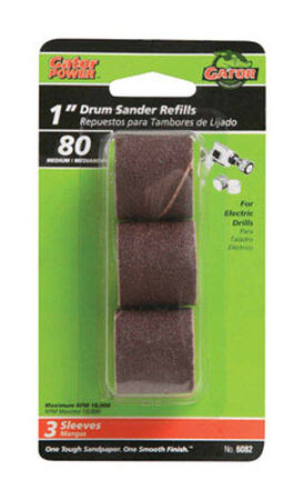 Gator Grit 1 in. Dia. x 0.3 in. Dia. 80 Grit Abrasive Sleeve Refill Aluminum Oxide