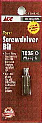 Ace T25 Torx Screwdriver Bit 1/4 in. Dia. x 1 in. L 1 pc.