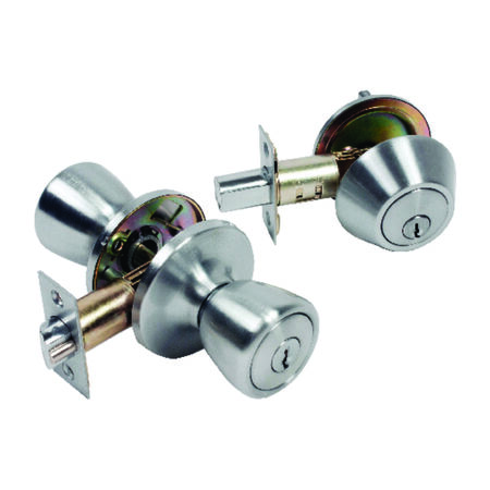 Home Plus Satin Chrome Tulip Knob and Deadbolt Set 3 Grade Left Handed Right Handed