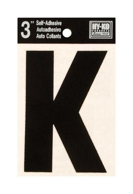 Hy-Ko Self-Adhesive Black 3 in. Vinyl Letter K