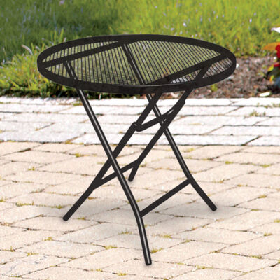 Living Accents 18 in. L Round Folding Side Table