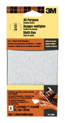 3M Aluminum Oxide Sandpaper 7-1/2 in. L 120 Grit Fine 5 pk