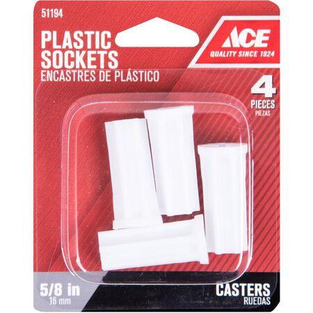 Ace Plastic 5/8 in. Dia. White Caster Socket 4 pk