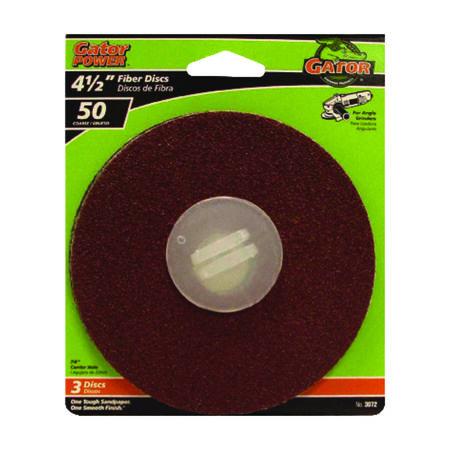 Gator Power 4-1/2 in. Dia. Sanding Disc 50 Grit Coarse Bolt-On 3 pk