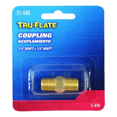 Tru-Flate Brass Coupling 1/4 in. MNPT x 1/4 in. MNPT in. Male