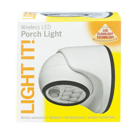 Light It Porch Light Metal White Motion-Sensing LED 6 volts