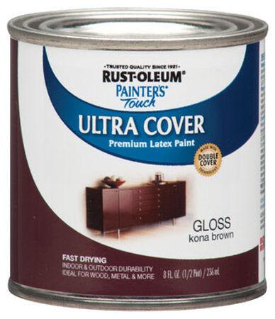 Rust-Oleum Interior/Exterior Premium Latex Paint Kona Brown Gloss 8 oz.