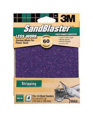3M Sandblaster Silicon Carbide 1/4 Sheet Sandpaper 5-1/2 in. L 60 Grit Coarse 4 pk