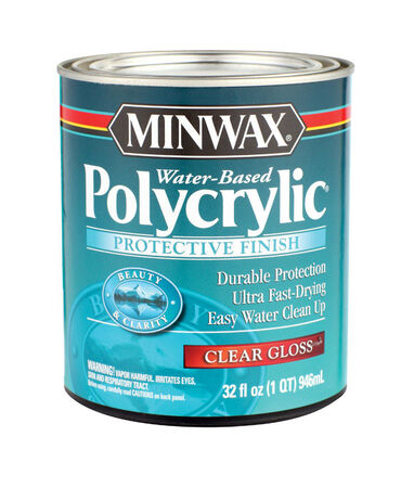 Minwax Indoor Clear Gloss Water-Based Polycrylic 1 qt.