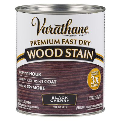 Varathane Premium Fast Dry Semi-Transparent Oil-Based Wood Stain Black Cherry 1 qt.