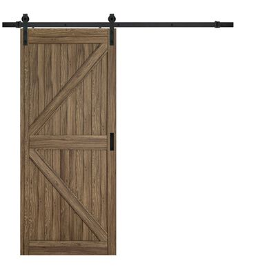 Renin 84 in. H x 36 in. W Wood Gunstock Oak K-Design Barn Door