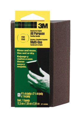 3M Aluminum Oxide Angled Sanding Sponge 4-7/8 in. W x 2-7/8 in. L Fine 120 Grit