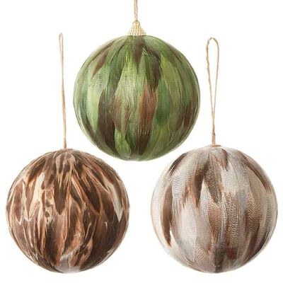 """4.5"""" Feather Ball Ornament"""