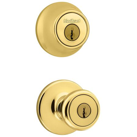 Kwikset Tylo Entry Lock and Single Cylinder Deadbolt 1-3/4 in. Polished Brass 3 Grade Left Hande