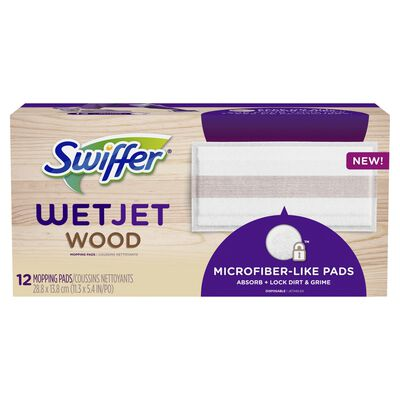 Swiffer WetJet Wood 11.3 in. W x 5.4 in. L Mop Refill Cloth 12 pk