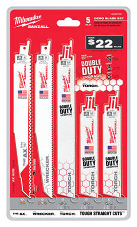 Milwaukee Demolition 9 in. L Bi-Metal Sawzall Blade Set 5 pk