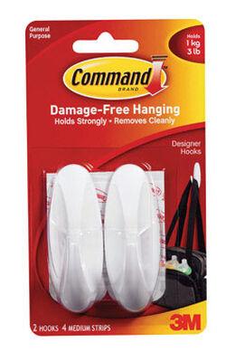 3M Command Medium Designer Hook 3-1/8 in. L Plastic 3 lb. per Hook 2 pk