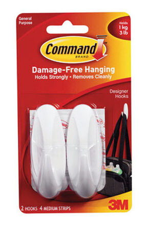3M Command Medium Designer Hook 3-1/8 in. L Plastic 3 lb. per Hook 2 pk