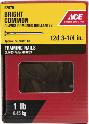 Ace Round 3-1/4 in. L Common Nail Smooth Bright 1 lb.