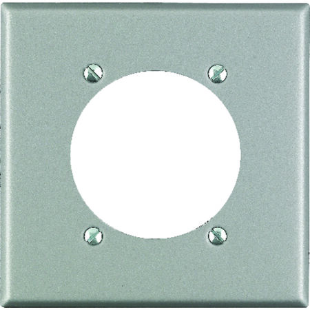 Leviton 2 gang Silver Stainless Steel Receptacle Wall Plate 1 pk