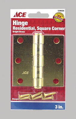 Ace Steel Residential Hinge 3 in. L Bright Brass 1 pk