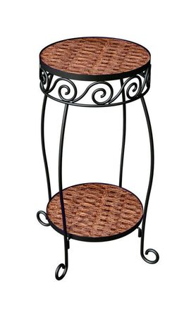 Panacea Brown Steel and Wicker Ground Plant Stand 20 in. H x 10-1/4 in. W