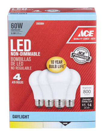 Ace LED Bulb 8.5 watts 800 lumens 5000 K A-Line A19 4 pk 60 watts equivalency