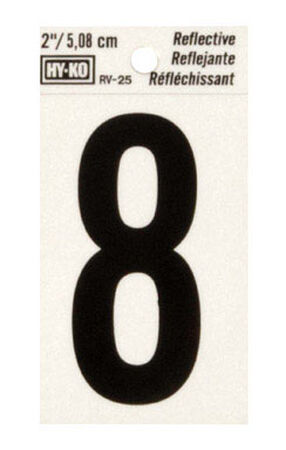 Hy-Ko Self-Adhesive Black Reflective Vinyl Number 8 2 in.