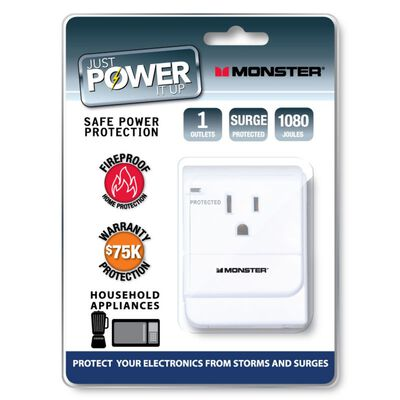 Monster Just Power It Up 1 outlets Surge Tap White