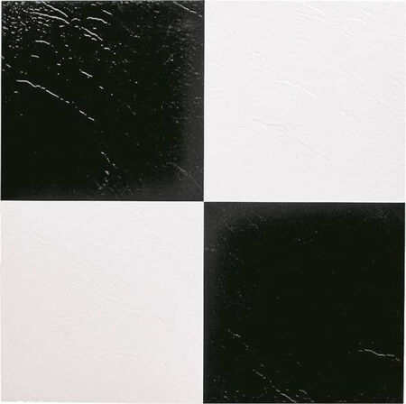 Self-Adhesive Floor Tile, 12 in L Tile, 12 in W Tile, 1.22 mm Thick Total, Black/White