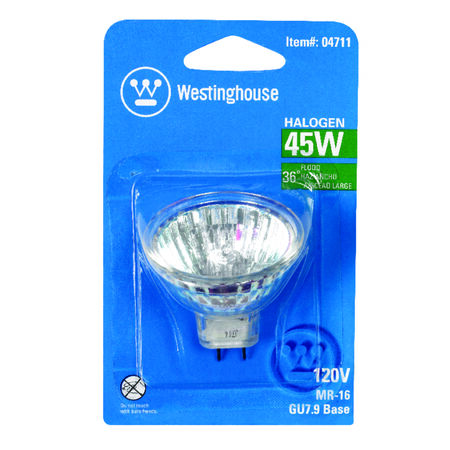 Westinghouse 45 watts 270 lumens 3050 K GU7.9/8.0 MR16 Halogen Floodlight Bulb White Floodlight