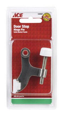 Ace Metal Hinge Mount Door Stop Satin Nickel Gray