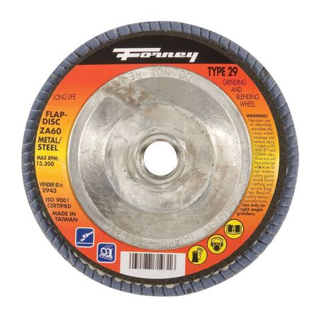 Forney 4-1/2 in. Dia. x 7/8 in. Blue Zirconia Flap Disc 60 Grit