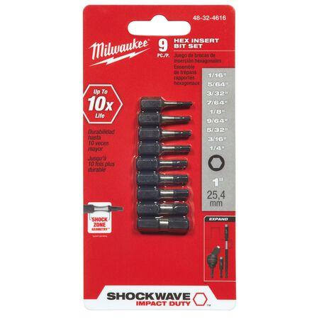 Milwaukee SHOCKWAVE Hex Multi Size x 1 in. L Impact Insert Bit Set Steel 9 pc.