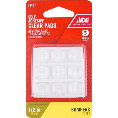 Ace Vinyl Square Bumper Pads Clear 1/2 in. W x 1/2 in. L 9 pk