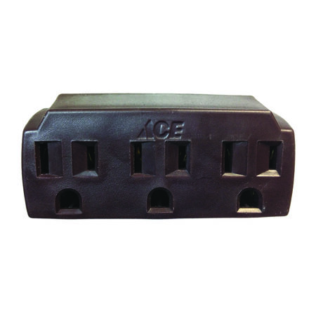 Ace Grounded Triple Outlet Adapter Brown 15 amps 125 volts 1 pk