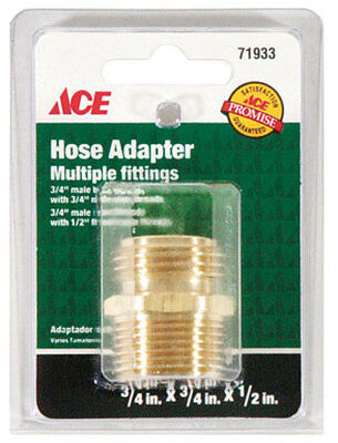 Ace 3/4 in. MHT x 3/4 in. MPT x 1/2 in. FPT Brass Hose Adapter Threaded
