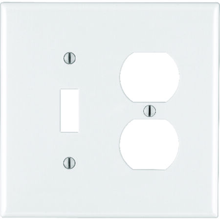 Leviton Midway 2 gang White Nylon Toggle/Duplex Midsize Wall Plate 1 pk