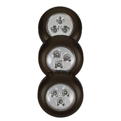 Fulcrum LIGHT IT LED Battery-Operated Puck Light 3 pk Black