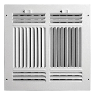 Tru Aire 10 in. H x 10 in. W White 4-Way Supply Wall/Ceiling Register