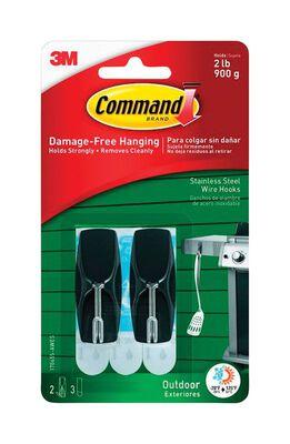 3M Command Medium Outdoor Stainless Steel Wire Hook Plastic 2 lb. per Hook 2 pk