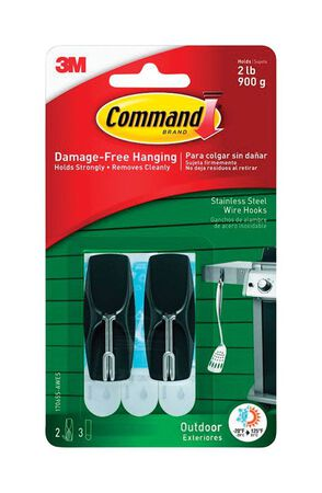 3M Command Medium Outdoor Stainless Steel Wire Hook Plastic 2 lb. per Hook 2 pk
